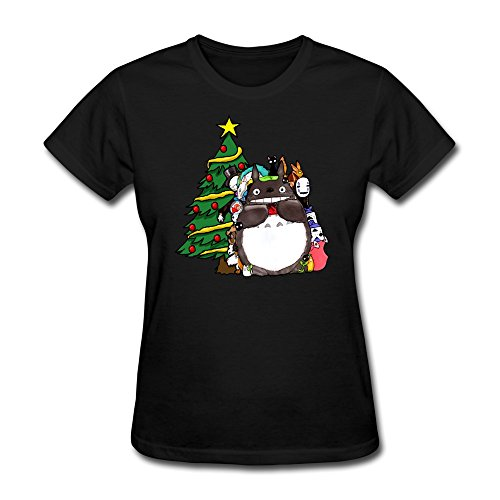 LongRVEA Wo'men's My Friend Totoro Christmas T-shirts Medium Black