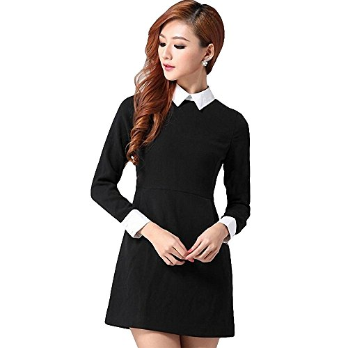 Great Group Halloween Costumes: The Addams Family - Women's Petite Lapel Zip Back Long Sleeve Peter Pan Collar Dress Black