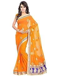 Bano Tradelink Women's Chiffon Saree(7013, Orange)