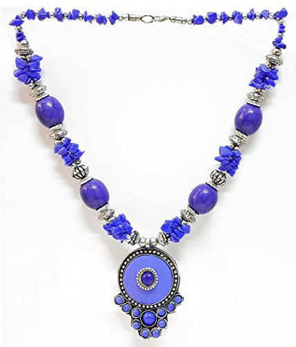 DollsofIndia Blue And Mauve Stone Bead Tibetan Necklace - Stone And Metal - Blue