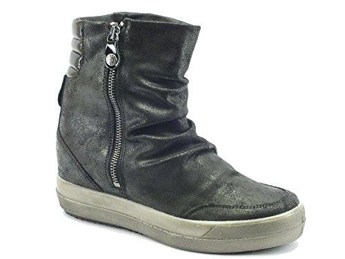 DSY 16755 NERO.Sneaker alta lampo.Nero.38