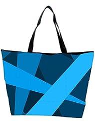 Snoogg Blue Color Strips Designer Waterproof Bag Made Of High Strength Nylon