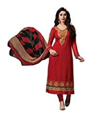 Nazaquat Elegant Red Semi Stitched Chanderi Cotton Salwar Kameez Suit - B00TH1KN1Y