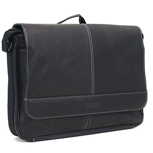 Kenneth Cole Reaction Risky Business Full-Grain Colombian Leather Crossbody Laptop & Tablet Flapover Messenger Bag, Black