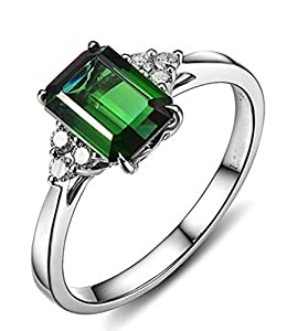 1.50 Carat Emerald and Diamond Engagement Ring in White Gold