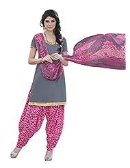 Desi Look Women's Grey Cotton Patiyala Dress Material With Dupatta - B019A48CZ6