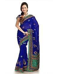 Designersareez Women Chiffon Embroidered Royal Blue Saree With Unstitched Blouse(1152)