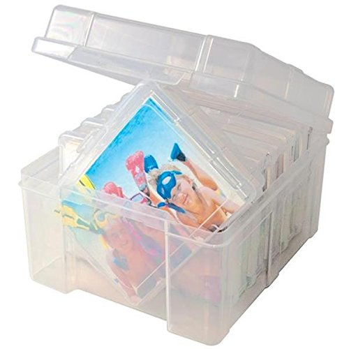 Advantus Photo Keeper Box with 6 Individual Clear Photo Cases, Holds up to 600 Photos, Embellishment and Craft Storage Containers, 61989