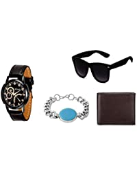 Mikado Casual Black Dial Analog Watch With One Sunglass,Wallet And Rohdium Bracelet For Men And Boy's
