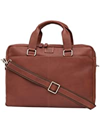 Black & Tan Leather 13 Liters Brown Briefcase (W50022_Cgnc)