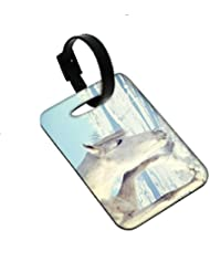 Snoogg White Snow Horse Designer Luggage Tags Premium Quality Card Tags - Great For Travel