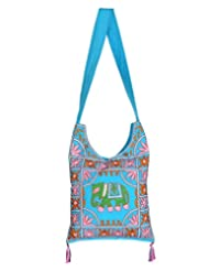 Rajrang Bags For Womens Elephant Printed Cotton Embroidered Work Turquoise Sling Bag