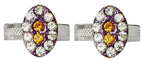DollsofIndia White And Yellow Stone Studded Oval Toe Ring - Stone And Metal - White