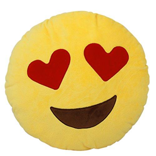 Coussin Oreiller Emoticône Emoji Rond en Peluche Souple (Yeux du Coeur)