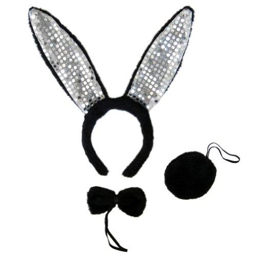 Black Plush Sequin Bunny Ears