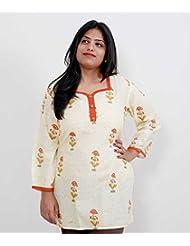 Viniyog Women Hand Woven Hand Block Printed Cotton Kurti