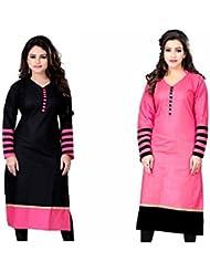FabTexo Printed Cotton Straight Kurti Combo Pack Of 2 Pec_(Unstitched_Kurti_Material)_(Kurti_Black_Pink_Black)
