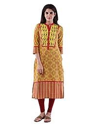 AARR Cotton Yellow 3/4th Sleeves Kurta For Women - B00W9W4MOC