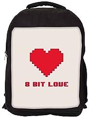 Snoogg 8 Bit Love Backpack Rucksack School Travel Unisex Casual Canvas Bag Bookbag Satchel