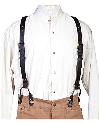 Men's Vintage Style Suspenders t Leather Suspenders $41.08 AT vintagedancer.com