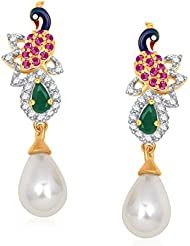 Meenaz Earrings For Girls And Women Gold Plated In American Diamond Cz T403