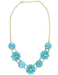 Shopatplaces Hathras Beads Necklace In Golden & Sky Blue