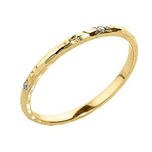 Amazon Dainty 14k Yellow Gold Hammered Band Stackable Diamond Ring Jewelry