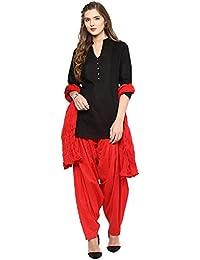 Pistaa Women's Cotton Short Black Kurta And Red Patiala Salwar With Dupatta Set