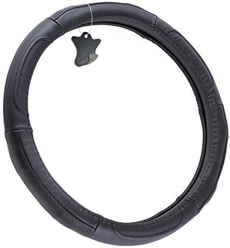 OxGord Steering Wheel Cover, Genuine Leather, Ver. 22, Black