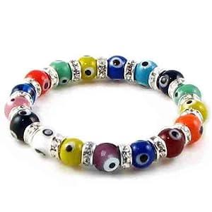 Bling Jewelry Evil Eye Beads 10mm Multi Color Stretch Swarovski Crystal Bracelet