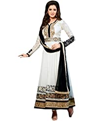 Viva N Diva Womens Georgette Off White Free Size Anarkali Suit