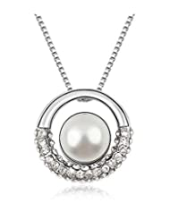 Silver Shoppee Circle Of Hopes Rhodium Plated Cubic Zirconia And Pearl Studded Alloy Pendant