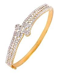 The Jewelbox American Diamond CZ Eternity Flora Openable Kada Bangle Bracelet