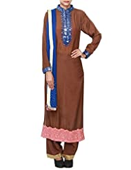 Brown Straight Suit Enhanced In Mirror And Resham Embroidery
