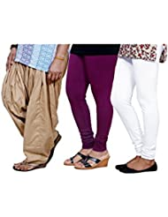Indistar Women's Full Patiala Salwar With Premium Cotton Casual Legging (2 Pieces)- (Combo Pack Of 3)