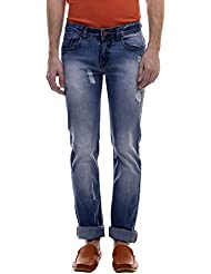 Raux Men's Light Blue Slim Fit Mid Rise Denim Jeans