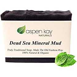 Dead Sea Mud Soap Bar 100% Organic & Natural. With Activated Charcoal & Therapeutic Grade Essential Oils. Face Soap or Body Soap. For Men, Women & Teens. Chemical Free. 4oz Bar.