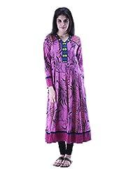 Aarr V-Neck Long Sleeve Printed Anarkali Kurta For Women