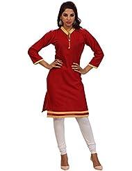 Alethia Enterprise Red Color Cotton Heavy Embroidered Stitched Kurti-ALI154KISKCK3XL