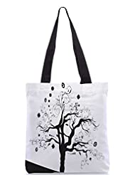 Snoogg Abstract Illustration Of A Tree With Lots Of Leaves Designer Poly Canvas Tote Bag