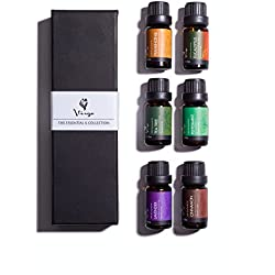 Aromatherapy & Massage Essential Oils Kit Holistic Healing with Pure 100% Therapeutic Grade Frankincense, Lavender, Peppermint, Cinnamon, Eucalyptus & Tea Tree Oil 6 10ml Bottles