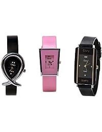 Glory Designer Latest Edition Of Fancy Watches For Girls & Women(Black,Pink) - B01G22Q4TU