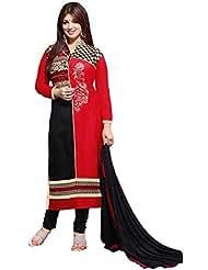 Manvaa Lovely Red And Black Glaze Cotton Salwar Kameez With Black Chiffon Dupatta