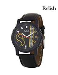 Relish Black Analog Round Casual Wear Watches For Men - B016A31NM4