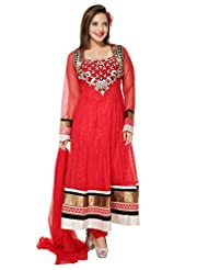 Divinee Red Net And Chantelle Net Readymade Anarkali Suit