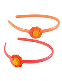Sarah Cap Hair Band For Girls - Orange And Red, Pack Of 2