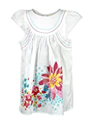 Budding Bees Girls White Printed Fit & Fare Dress
