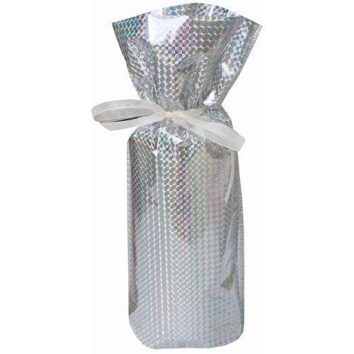 5 Wine/Bottle Drawstring Gift Bags, Diamond Silver