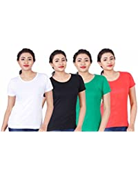 Fleximaa Women's Cotton Round Neck T-Shirt Plain (Pack Of 4) - White, Black, Coral Red & Pakistan Green Colors.