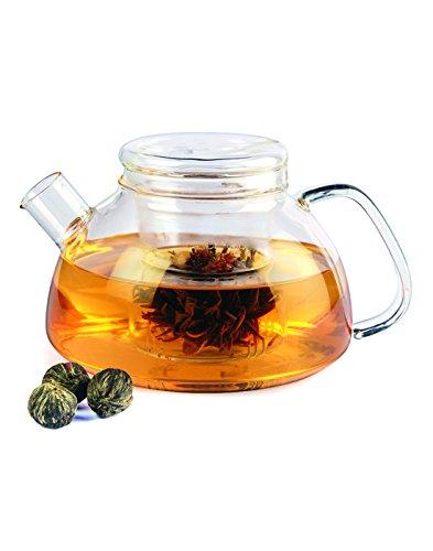 Dancing Leaf Borosilicate Glass Glass Tea Pot (1000 Ml)